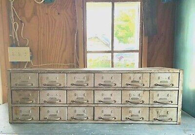 Vintage 18 Drawer Industrial Metal Storage Cabinet W Dividers
