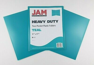 Jam Paper Plastic Folders With Pockets -teal Blue- 3-pack Letter Heavy Duty