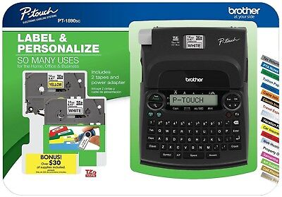 Brother Pt-1890 P-touch Deluxe Label Maker Bundle Power Adapter 2 Label Tapes