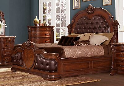 STUNNING QUEEN CHERRY FINISH BONDED LEATHER TUFTED BED BEDROOM FURNITURE Bedroom Vintage Sleigh Bed