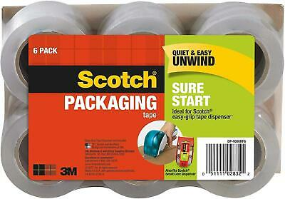6 Rolls Packing Tape Shipping Scotch 1.88 x 900 Inches Strong Quiet Unwind Clear