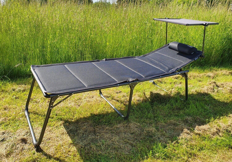 WESTFIELD XL Sonnenliege anthrazit inkl. Sonnendach 193 cm belastbar bis 140 kg