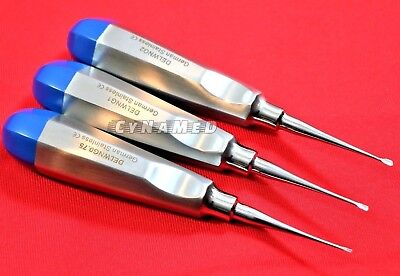 German 3 Ea Veterinary Dental Extracting Wing Winged Tip Elevator 0.75mm 1mm 2mm