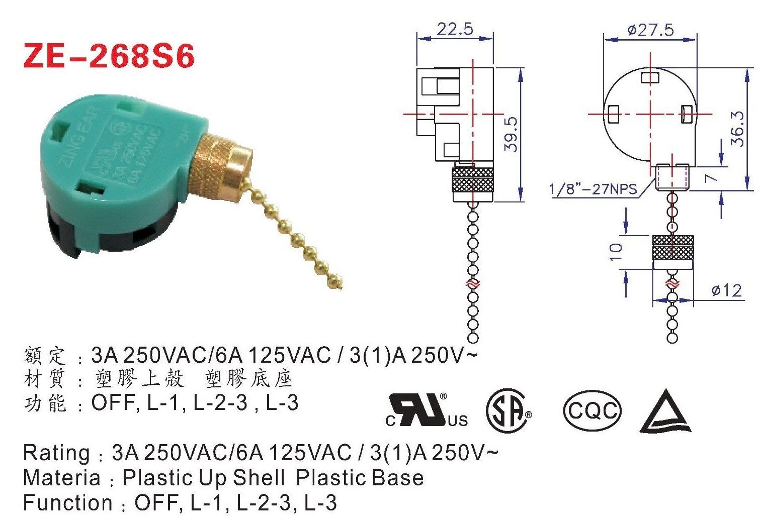 4 Way Pull Chain Switch Zing Ear Wiring Diagram Ze 268s6 3 Speed Wire Green Brass Fan Rh Picclick