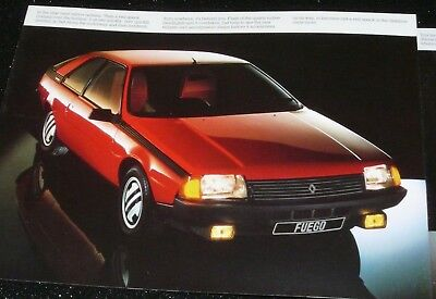 RENAULT FUEGO COUPE BROCHURE. c. 1980. ENGLISH TEXT FOR UK MARKET. VGC