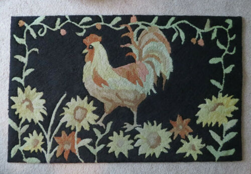 Vintage Country Primitive Style ROOSTER & SUNFLOWERS Kitchen / Entry way Rug