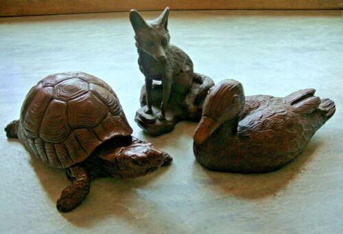 "Lot of 3 Red Mill Mfg. Pecan Resin Figurines  8"" BOX TURTLE   8"" DUCK   5.5"" FOX"