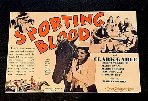 SPORTING BLOOD 1931 MOVIE HERALD - CLARK GABLE