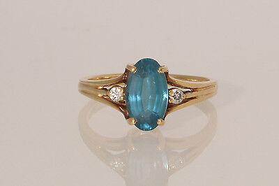 14K Yellow Gold Oval Blue Topaz & Diamond Vintage Estate Ring Size 7