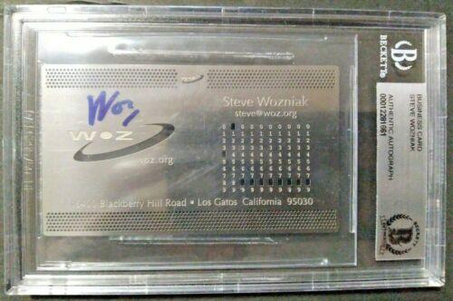 STEVE WOZNIAK WOZ APPLE CO CREATOR SIGNED BECKETT BGS SLAB BUSINESS CARD 1 OF 1
