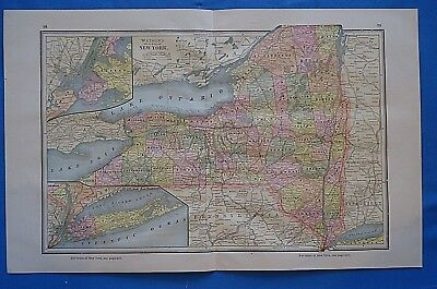 Vintage 1885 NEW YORK STATE MAP ~ Old Antique Original Atlas Map 101818