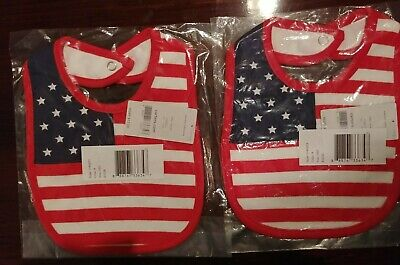 Lot of 2 / New with tags/  Carter's Baby Bib / Flag design
