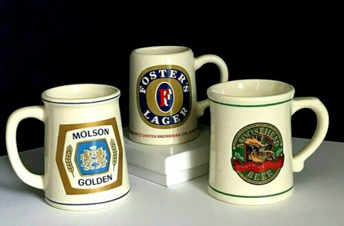 ~ 1981 MINI TANKARD BEER MUGS - SET OF 3 FOSTER, MOLSON & MOOSEHEAD ~ EUVC ~