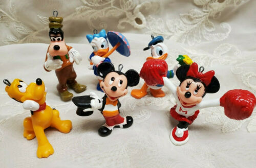 Vintage Christmas Disney Micky And Friends Ornament Set Applause Hong Kong