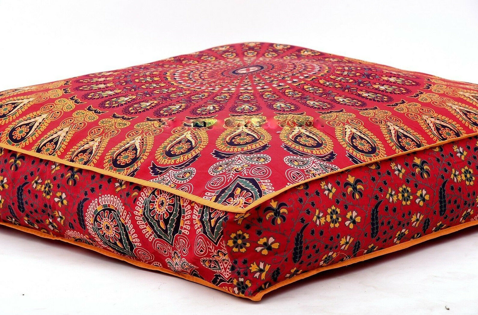Indian Daybed Big Seating Mandala Floor Pillow Cover Pouf Cu