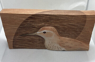 Vintage Hand Crafted Bird Summer Dunlin Wooden Hanging Plaque Wall Art