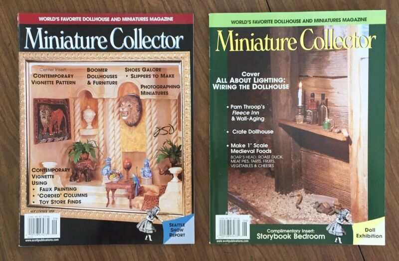 2 VTG Dollhouse MINIATURE COLLECTOR Magazines, June & Sept. 2002, Inserts