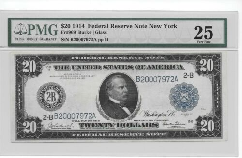 1914 $20 New York Federal Reserve Note Fr. 969 Burke/Glass