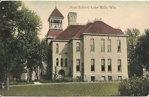 High-School-Lake-Mills-Wisconsin-WI-Postcard-1911