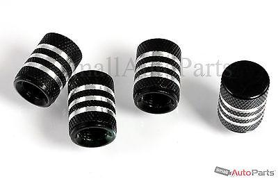 (4) car truck bike BLACK ALUMINUM tire valve stem CAPS with chrome stripes