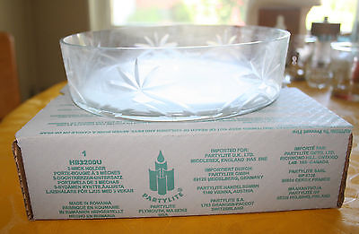 Three Wick Glass - RETIRED Partylite Three 3 Wick Candle Holder Cut Glass Bowl New!