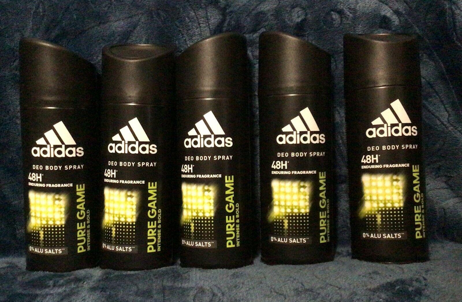 Adidas Pure Game Deodorant Body Spray 5 Oz 150ml , Lot Of 5 NEW FREE SHIP - $20.99