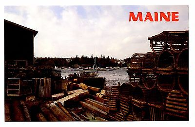 - Bass Harbor Mount Desert Island Maine Vintage Postcard Lobster Traps Boats Wind