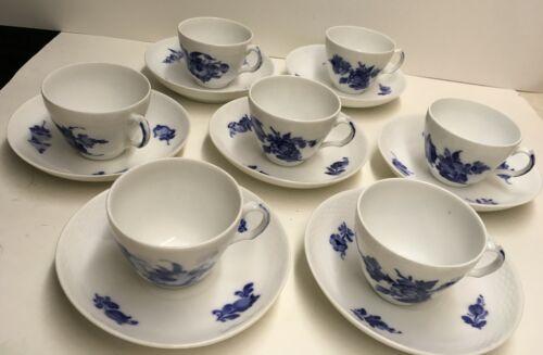 7 Sets of Royal Conpenhagen Blue Flowers Braided Cup & Saucer Denmark 10/8040