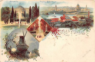 AK Litho. Gruss aus Potsdam Historische Mühle Panorama Postkarte