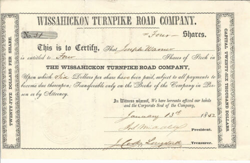 1852 PENNSYLVANIA Wissahickon Turnpike Road Co Stock Certificate #31 Springfield