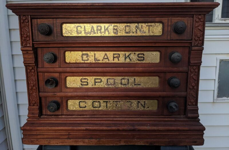 Antique Clark's Spool Cabinet Glass Drawer fronts