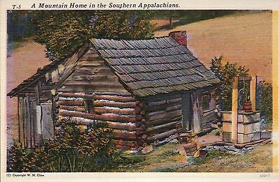 A Mountain Home in the Southern Appalachians, Well -- Old Vintage Linen Postcard