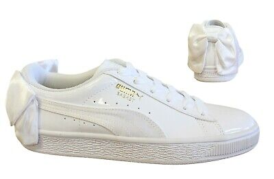 Puma Basket Bow SB White Patent Lace Up Casual Womens Trainers 368130 02 Y46B