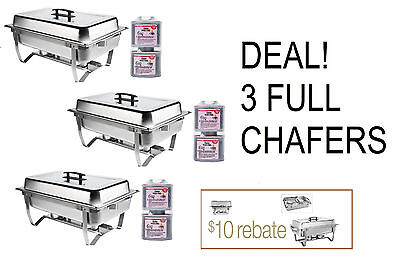 Big Game 3 Pack Deal Folding Chafing Dish Sets Chafer Catering 8 Qt Rebate