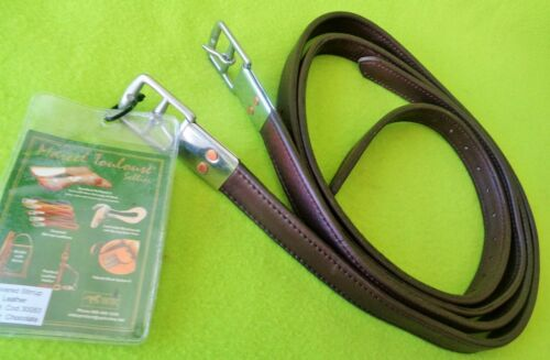 """NEW Marcel TOULOUSE Soft LEATHER Covered 54"""" x 1"""" Chocolate Stirrup LEATHERS"""