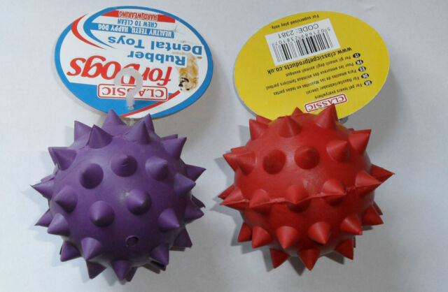 SPECIAL OFFER: 2 x Classic Rubber Spike and Bell Dental Dog Toy. Large: 3 inch