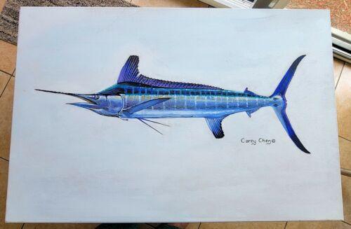 "CAREY CHEN ""ORIGINAL"" BILLFISH PAINTING on CANVAS - PERSONALLY SIGNED - FISHING"