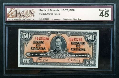 1937 Bank of Canada $50 Changeover *Coyne & Towers* B/H4253239 BCS EF-45 BC-26c