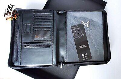 Nero Manetti Zippered Leather Padfolio Portfolio Pad Holder Business Pu Vegan