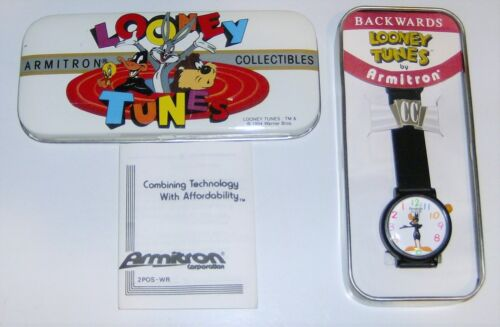 NICE 1994 ARMITRON BACKWARDS LOONEY TUNES DAFFY DUCK WATCH IN CASE,NEW BATTERY
