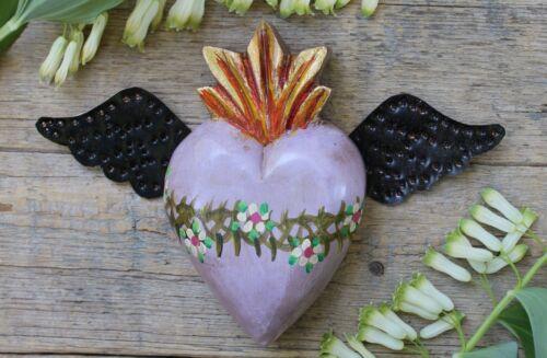 Purple Color Sacred Heart Tin Wings Handmade Mexico Folk Art Patzcuaro Michoacán