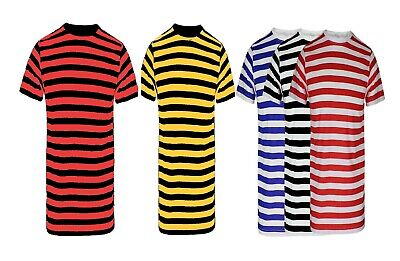 New Men's Boys Red And White Stripe Tshirt Top Black White Blue Shirts Book