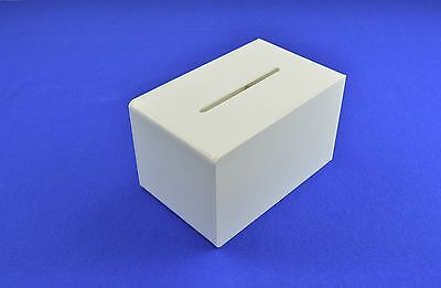 Small Ballot / Collection / Suggestion Box Lockable - Acrylic - BB0006 White