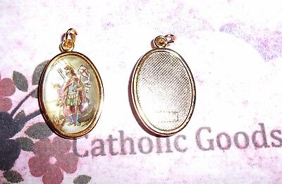 Saint St Florian Italian 1 inch Gold Tone and Enameled - Medal ()
