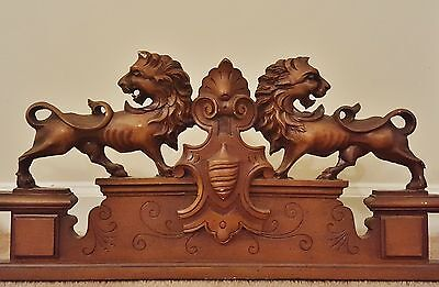 VINTAGE French Carved Louis Architectural Pediment Cornice Lions Crest 2 AVAIL