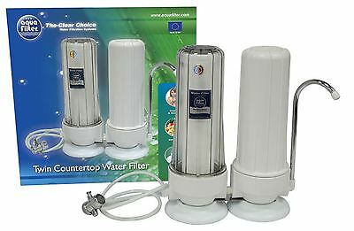 2 Stage Filtration System Countertop Double Drinking Water Filter with Faucet Countertop Double Stage Filter