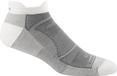 DARN TOUGH MEN'S WHITE/GRAY RUN/BIKE 1722 MERINO WOOL NO SHOW SOCKS LARGE M L - Show Bike Sock
