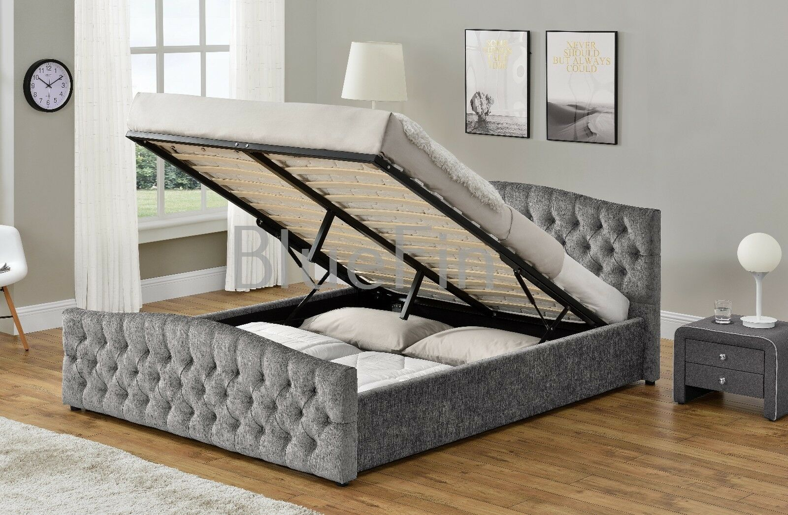 Chesterfield Ottoman Storage Bed In Silver Crush Or Chenille Upholstered Fabric Beds & Mattresses