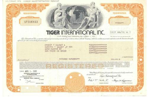 Tiger International, Inc. Stock Certificate. 1981