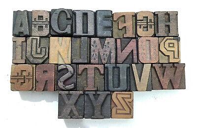 Vintage Letterpress Woodwooden Printing Type Blocks Typography 26pcs 25mmlb214
